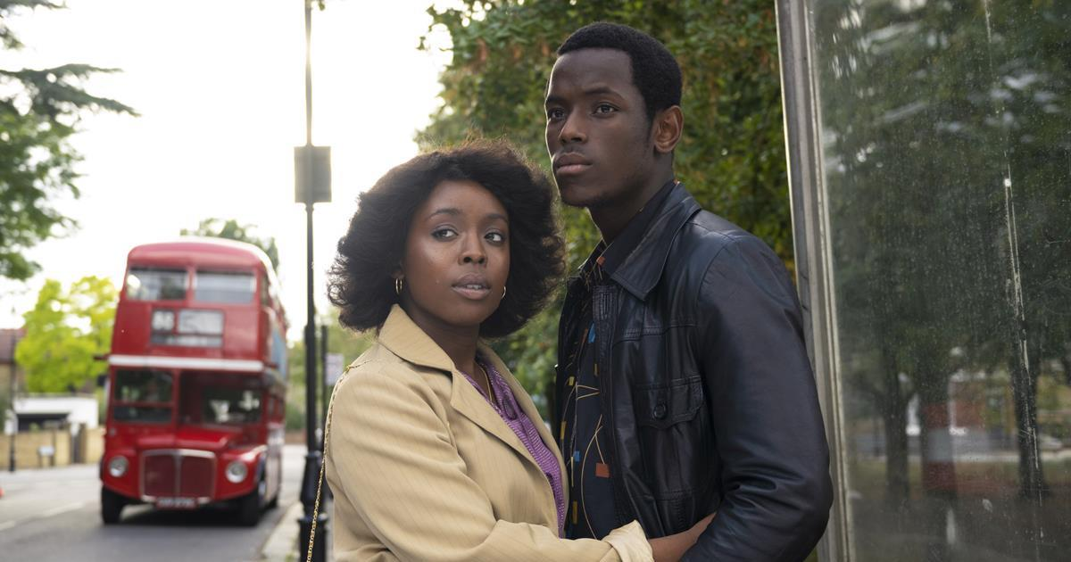"""Amarah-Jae St. Aubyn as Martha and Michael Ward as Franklyn in """"Lovers Rock."""" Cr: Parisa Taghizedeh/Amazon Prime Video"""