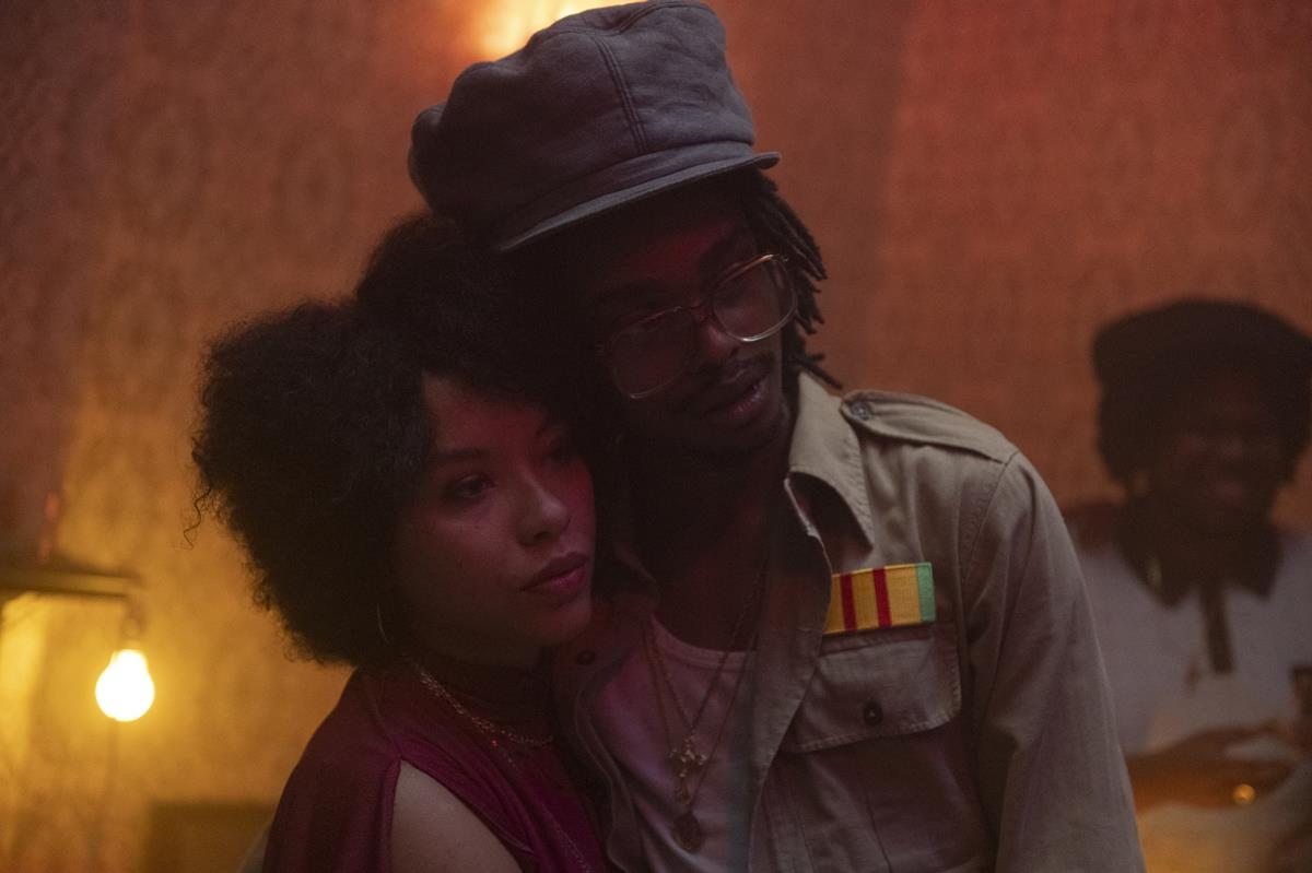 """Saffron Coomber as Grace and Jermaine Freeman as Skinner in """"Lovers Rock."""" Cr: Parisa Taghizedeh/Amazon Prime Video"""