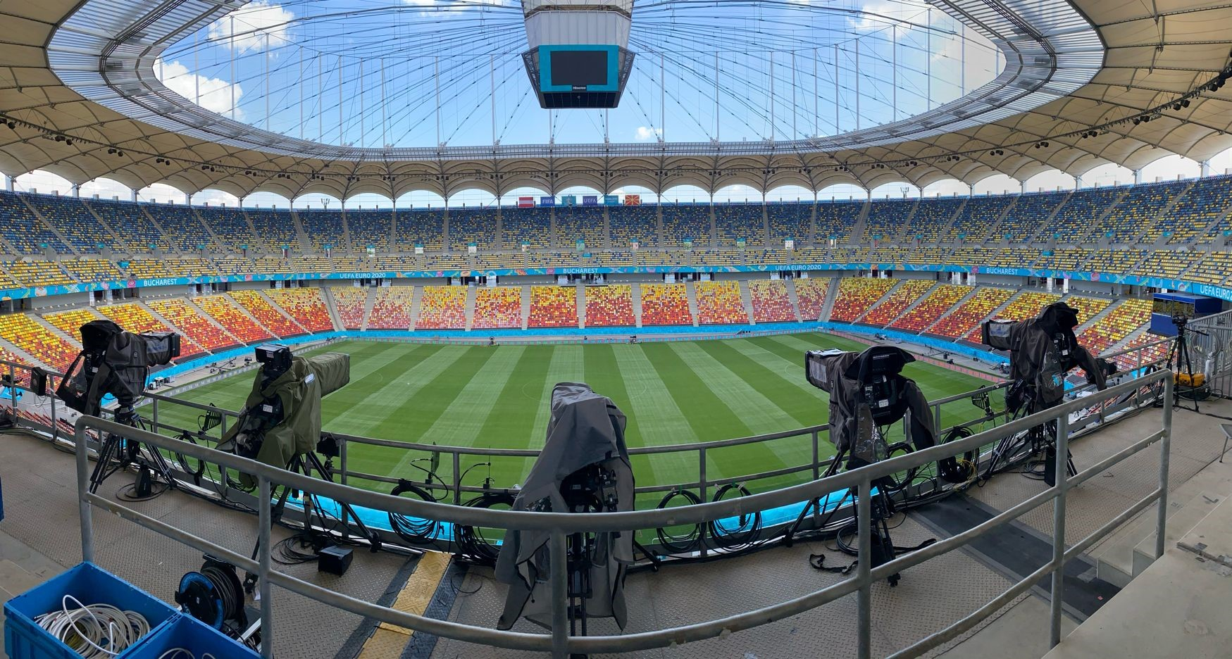 Euro Media Group gantry cameras at the ready for the opening Euro 2020 game in Bucharest