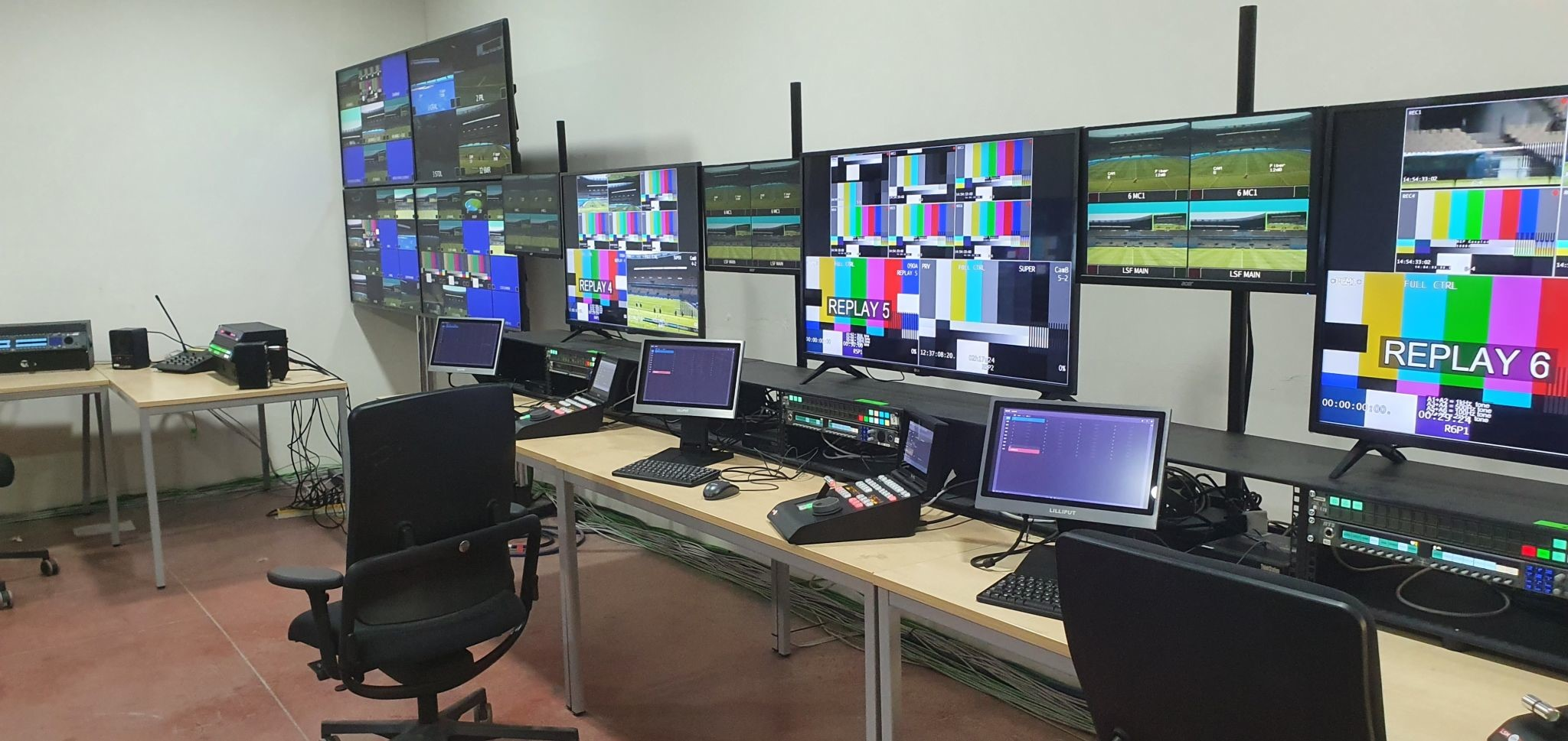 View of replay area at the International Broadcast Center, situated near Amsterdam in the Netherlands.
