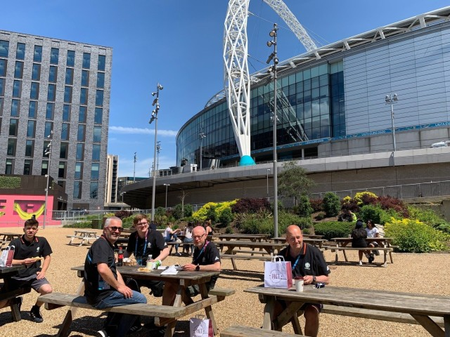 Telegenic OB crew taking a break at Wembley Stadium