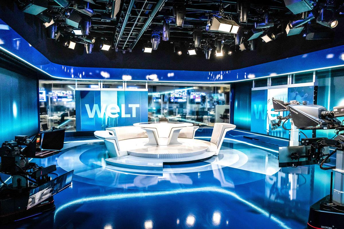 The state-of-the-art TV studios of WELT have been fully equipped by ARRI with IP-based lighting technology. Cr: Anne Hufnagi