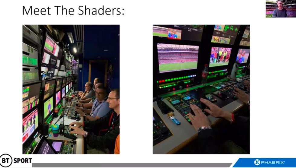View of the camera shading area in an OB truck for BT Sport: the shading function is absolutely critical to successful live HDR production.