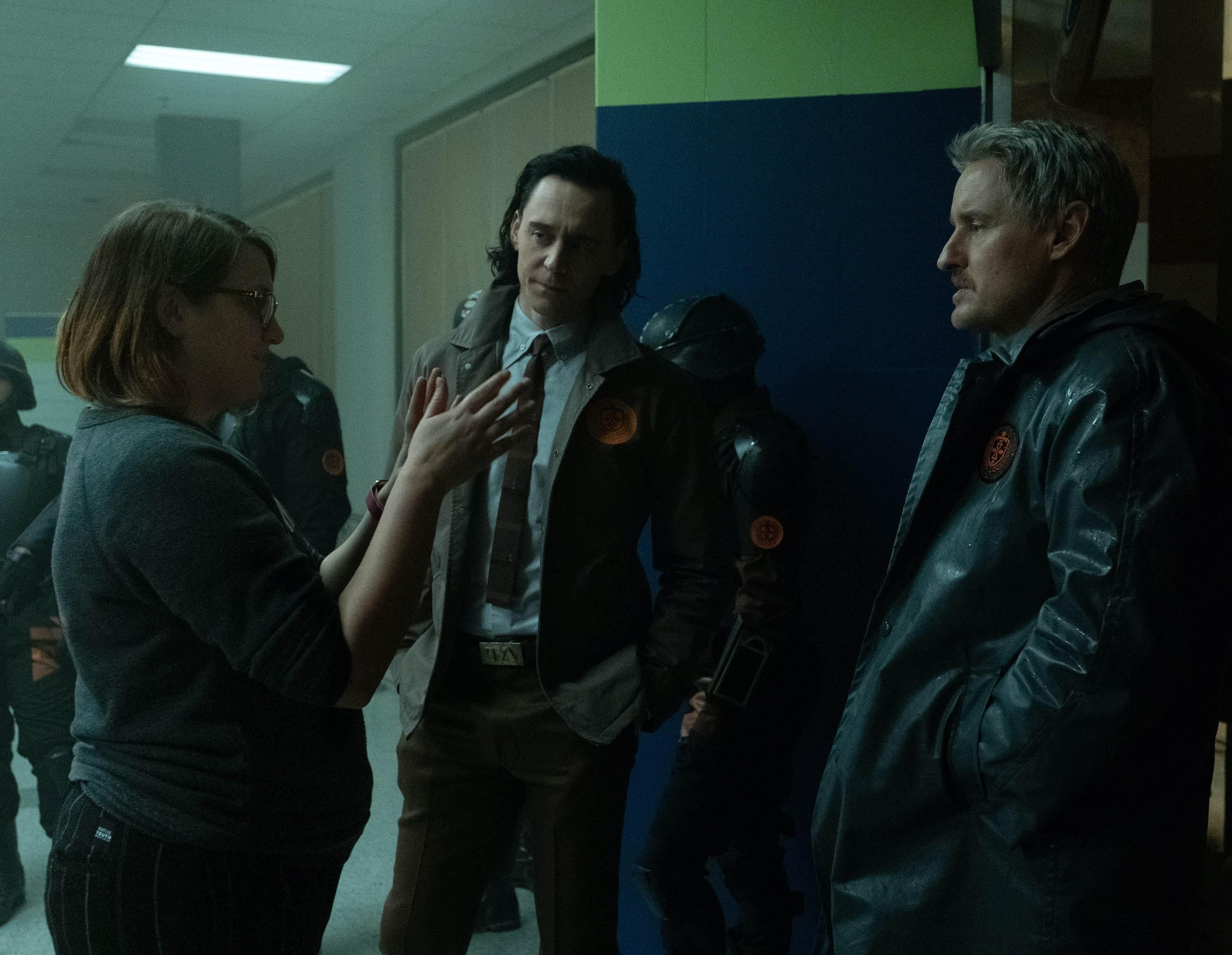 Kate Herron, Tom Hiddleston, and Owen Wilson on the set of Marvel's Loki