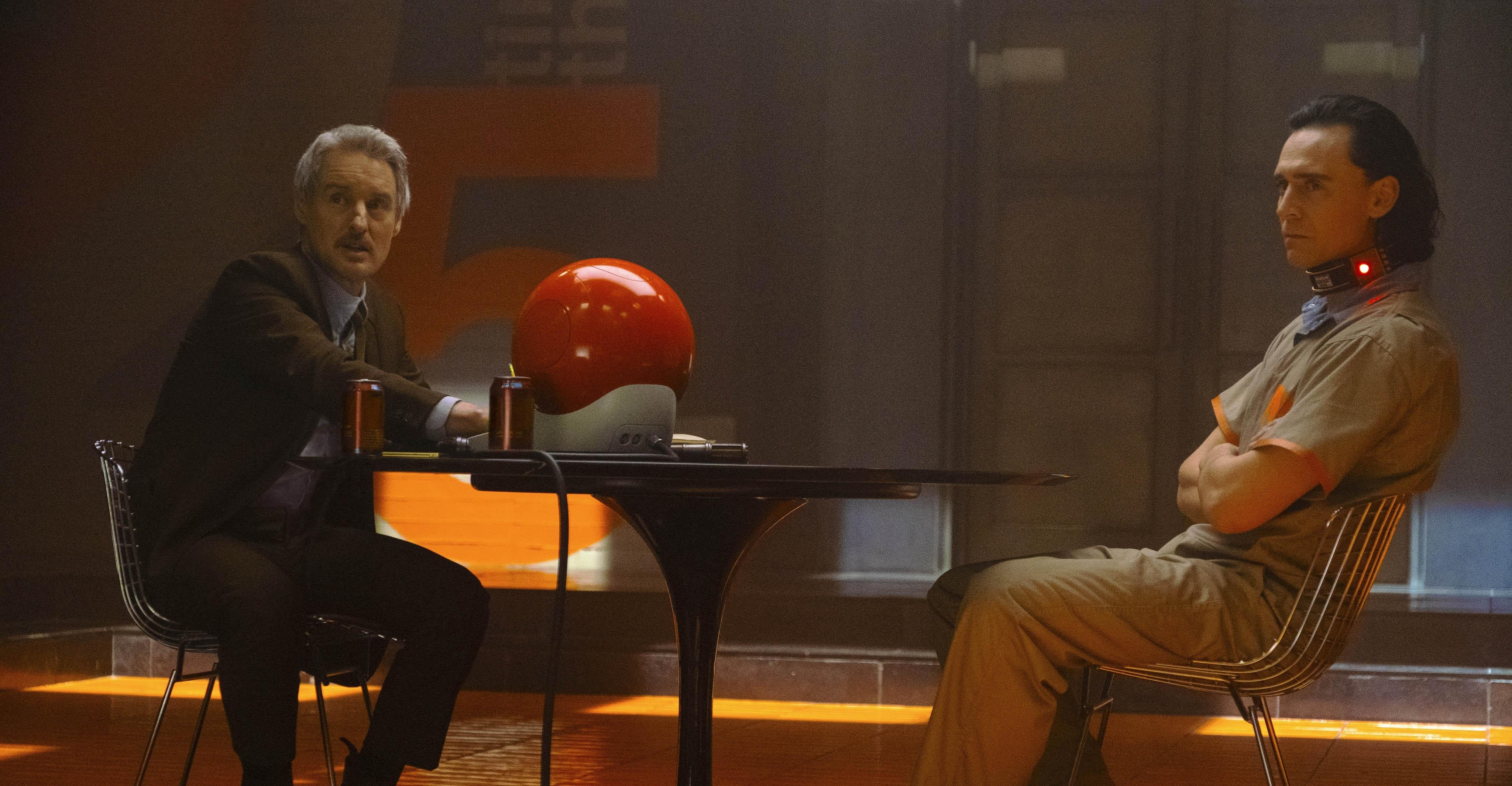 Owen Wilson as Mobius M. Mobius and Tom Hiddleston as Loki, God of Mischief.