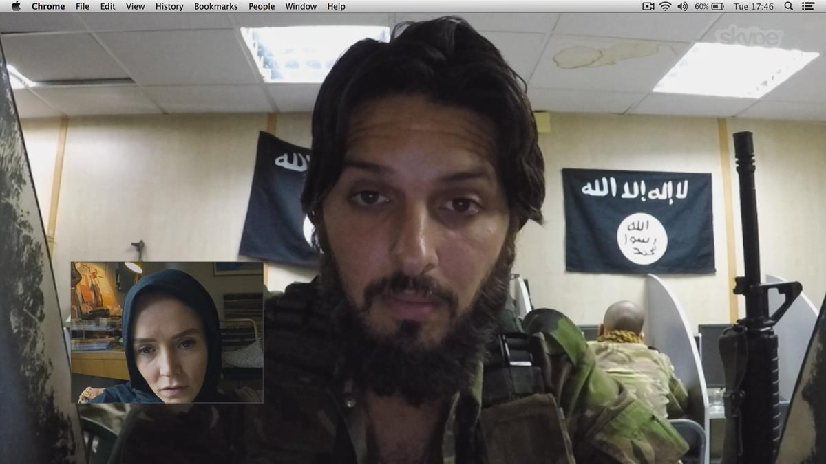 "Valene Kane as Amy and Shazad Latif as Abu Bilel Al-Britani in Timur Bekmambetov's ""Profile."" Cr: BEZELEVS/Focus Features."