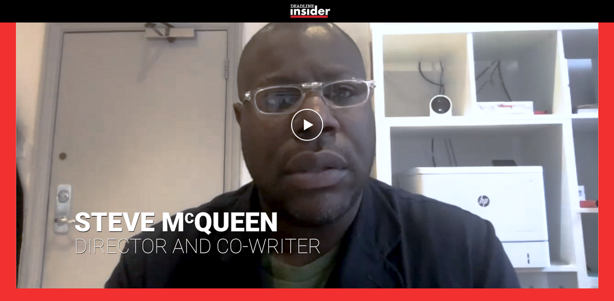 """Screen capture from Deadline Insider's """"The Art of Story: Small Axe,"""" featuring McQueen and Kirchner in conversation about the making of the series."""
