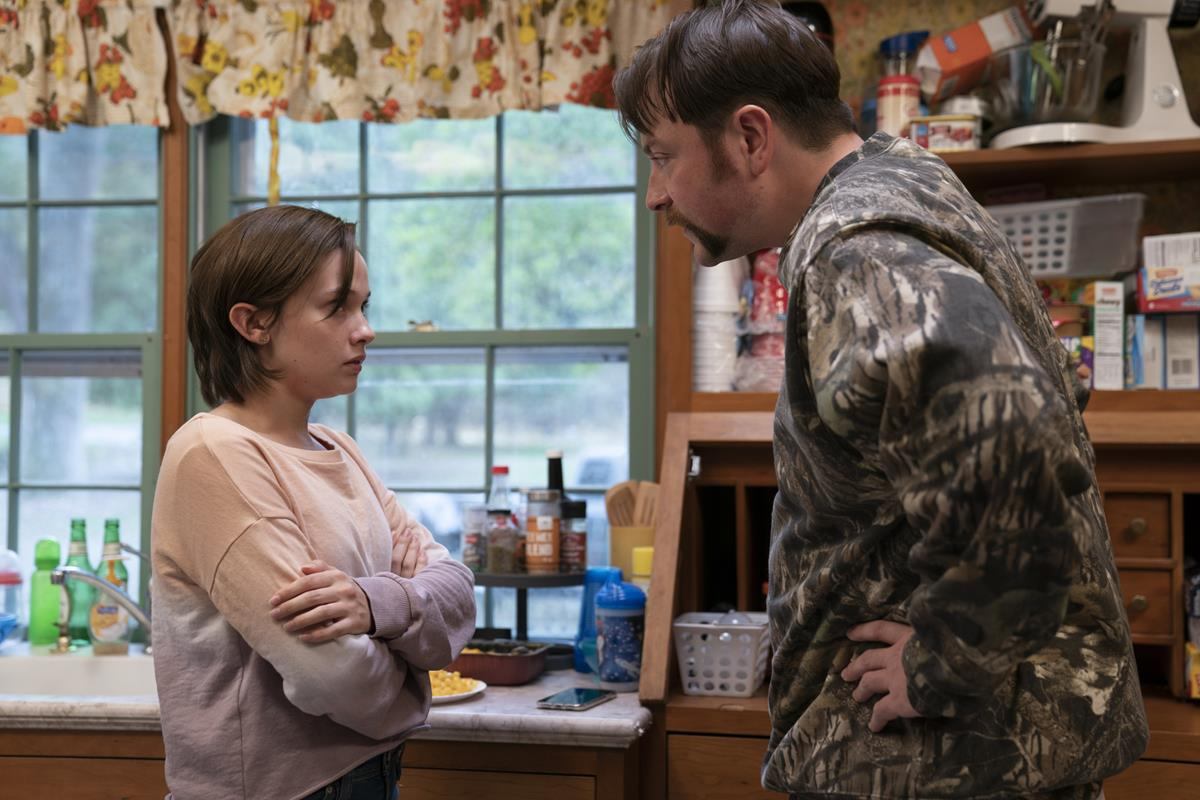 """Cailee Spaeny and Patrick Murney in """"Mare of Easttown."""" Cr: HBO"""