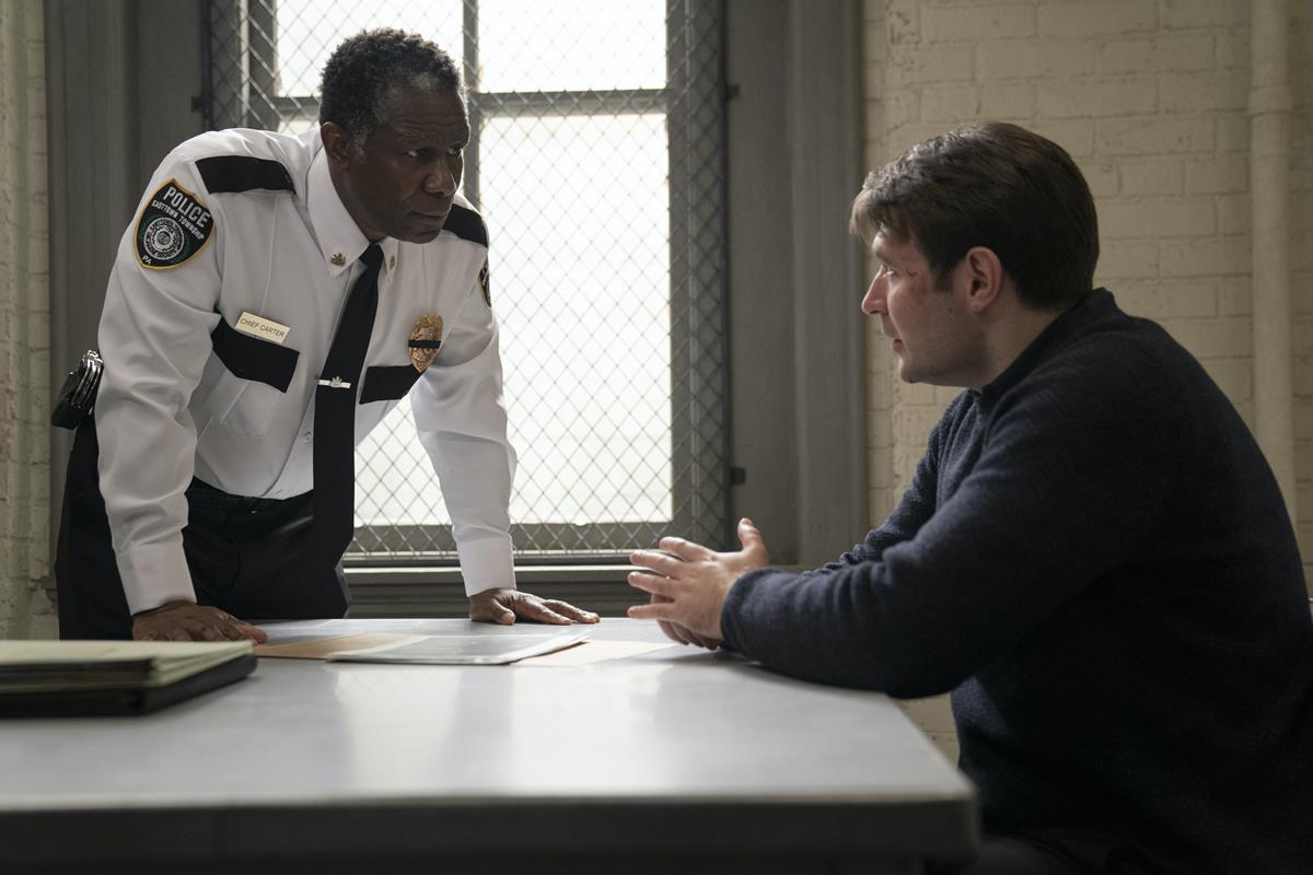 """John Douglas Thompson and Evan Peters in """"Mare of Easttown."""" Cr: HBO"""
