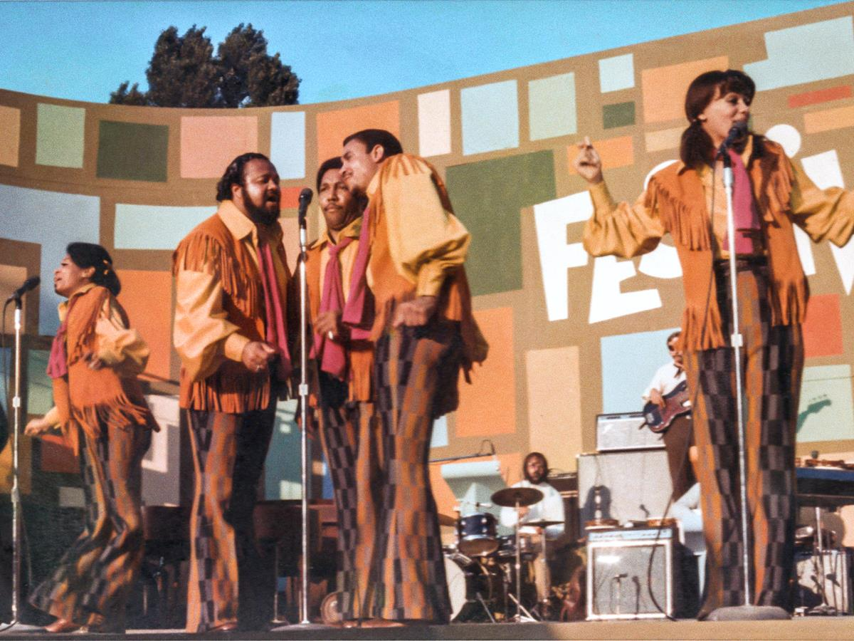 """The 5th Dimension perform at the Harlem Cultural Festival in 1969, featured in the documentary """"Summer Of Soul (Or, When The Revolution Could Not Be Televised)."""" Cr: Mass Distraction Media/Searchlight Pictures"""