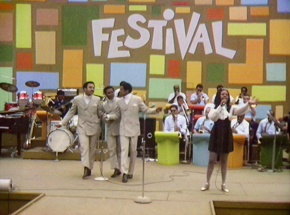 """Gladys Knight & the Pips perform at the Harlem Cultural Festival in 1969, featured in the documentary """"Summer Of Soul (Or, When The Revolution Could Not Be Televised)."""" Cr: Mass Distraction Media/Searchlight Pictures"""