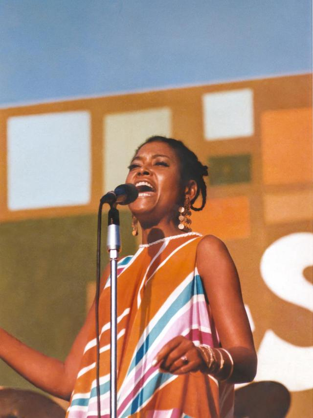 """Abbey Lincoln performs at the Harlem Cultural Festival in 1969, featured in the documentary """"Summer Of Soul (Or, When The Revolution Could Not Be Televised)."""" Cr: Mass Distraction Media/Searchlight Pictures"""