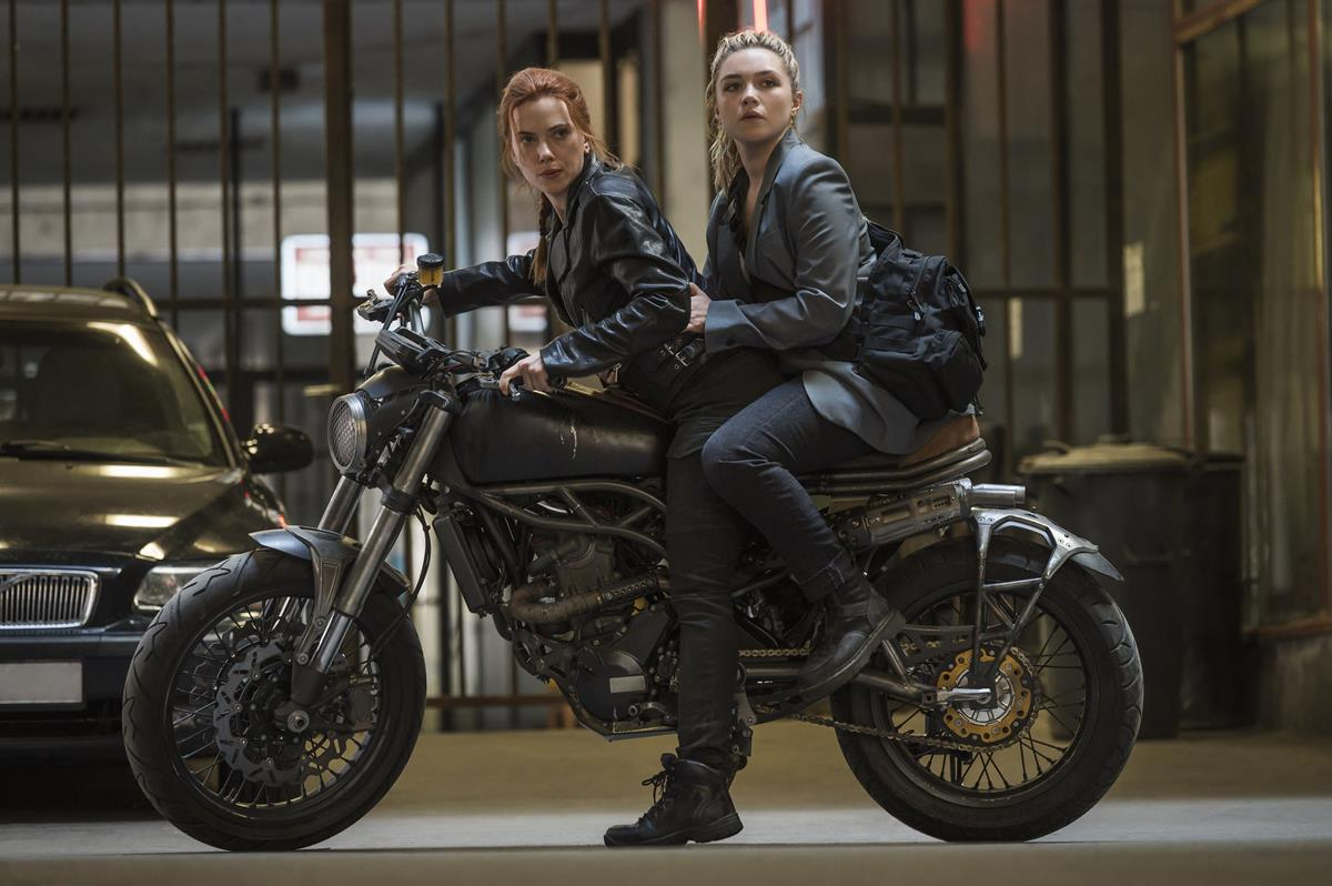 "Scarlett Johansson as Natasha Romanoff/Black Widow and Florence Pugh as Yelena Belova/Black Widow in Marvel's ""Black Widow."" Cr: Marvel Studios"