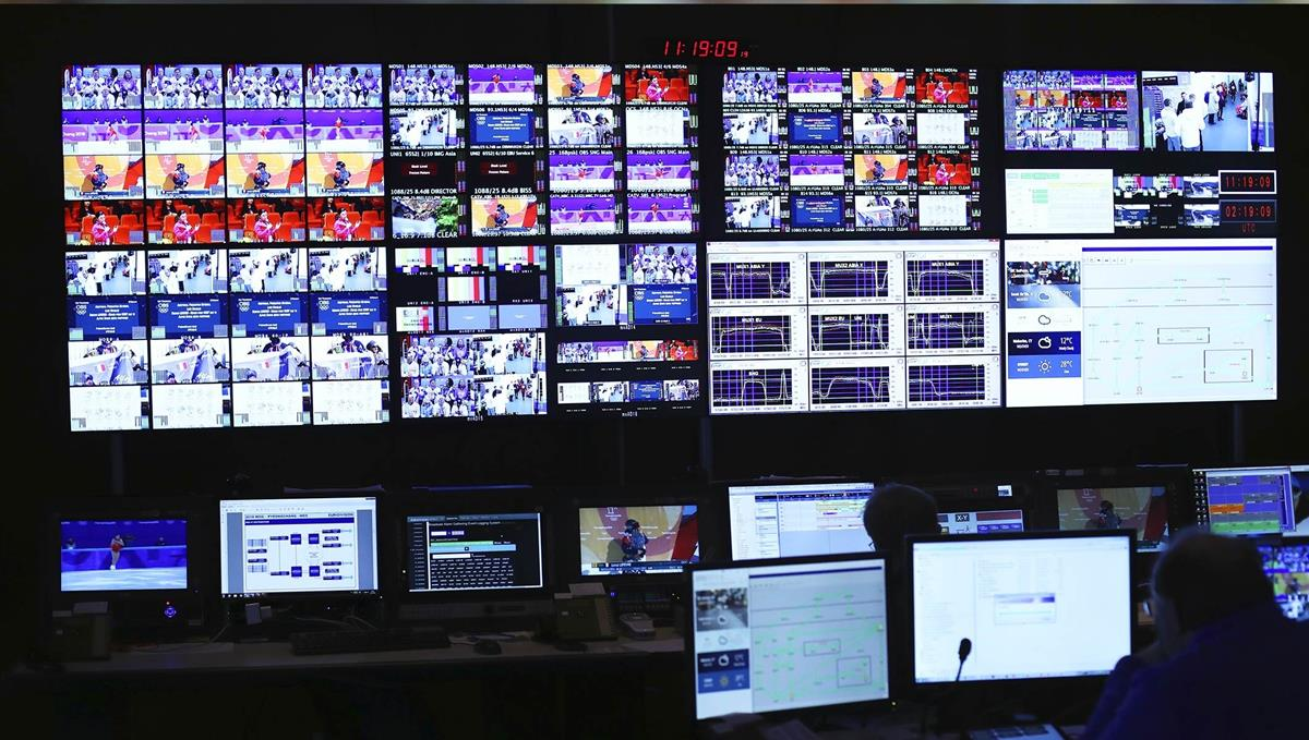 Monitor stack in the Olympic Broadcast Services Master Control Room. Cr: OBS