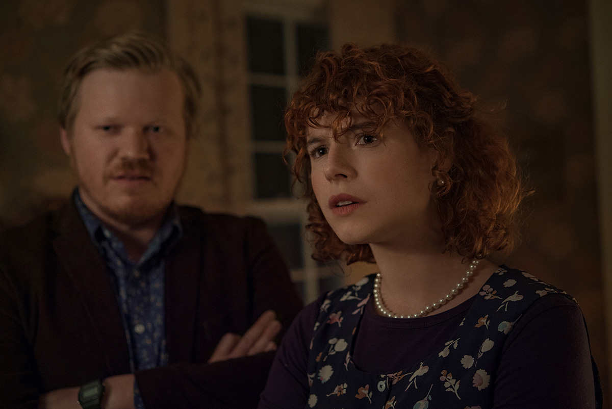 """Jesse Plemons as Jake, Jessie Buckley as Young Woman in """"I'm Thinking Of Ending Things."""" Cr. Mary Cybulski/NETFLIX © 2020"""