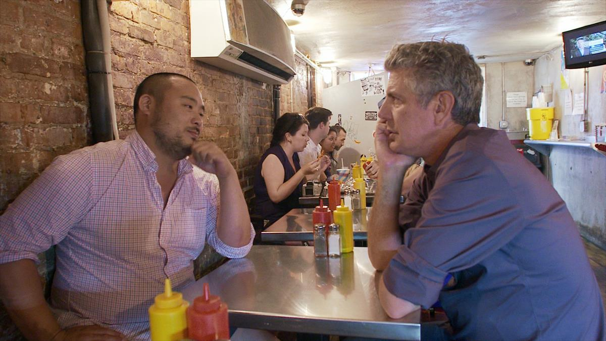 """David Chang and Anthony Bourdain star in Morgan Neville's documentary, """"Roadrunner."""" Cr: Focus Features"""