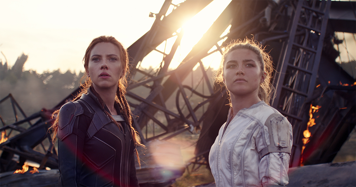 """Black Widow (Scarlett Johansson) and Yelena (Florence Pugh) in Marvel Studios' """"Black Widow,"""" playing both in theaters and on Disney+ with Premier Access. Photo courtesy of Marvel Studios."""