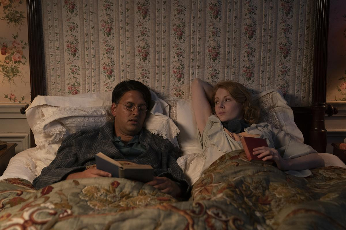 """Shazad Latif as Alfred Winchman and Emily Beecham as Fanny Logan in """"The Pursuit of Love."""" Cr: Robert Viglasky/BBC"""