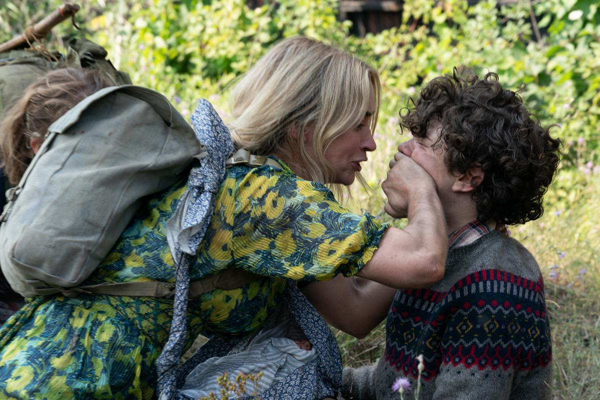 """Evelyn (Emily Blunt) and Marcus (Noah Jupe) brave the unknown in """"A Quiet Place Part II."""" Cr: Paramount Pictures"""