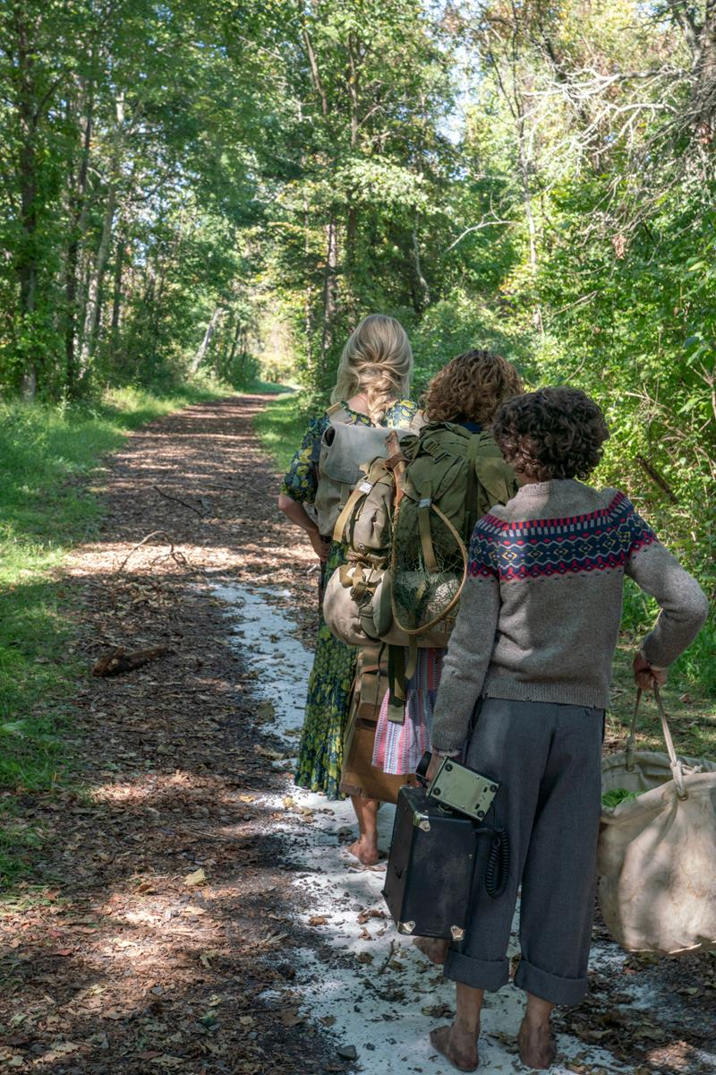 """Evelyn (Emily Blunt), Regan (Millicent Simmonds) and Marcus (Noah Jupe) brave the unknown in """"A Quiet Place Part II."""" Cr: Paramount Pictures"""