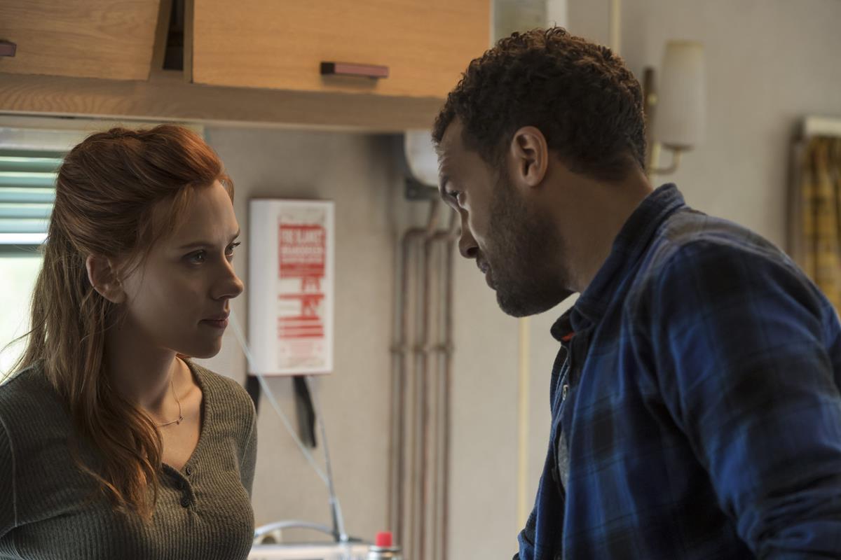 "Scarlett Johansson as Natasha Romanoff/Black Widow and O-T Fagbenle as Rick Mason in Marvel's ""Black Widow."" Cr: Marvel Studios"