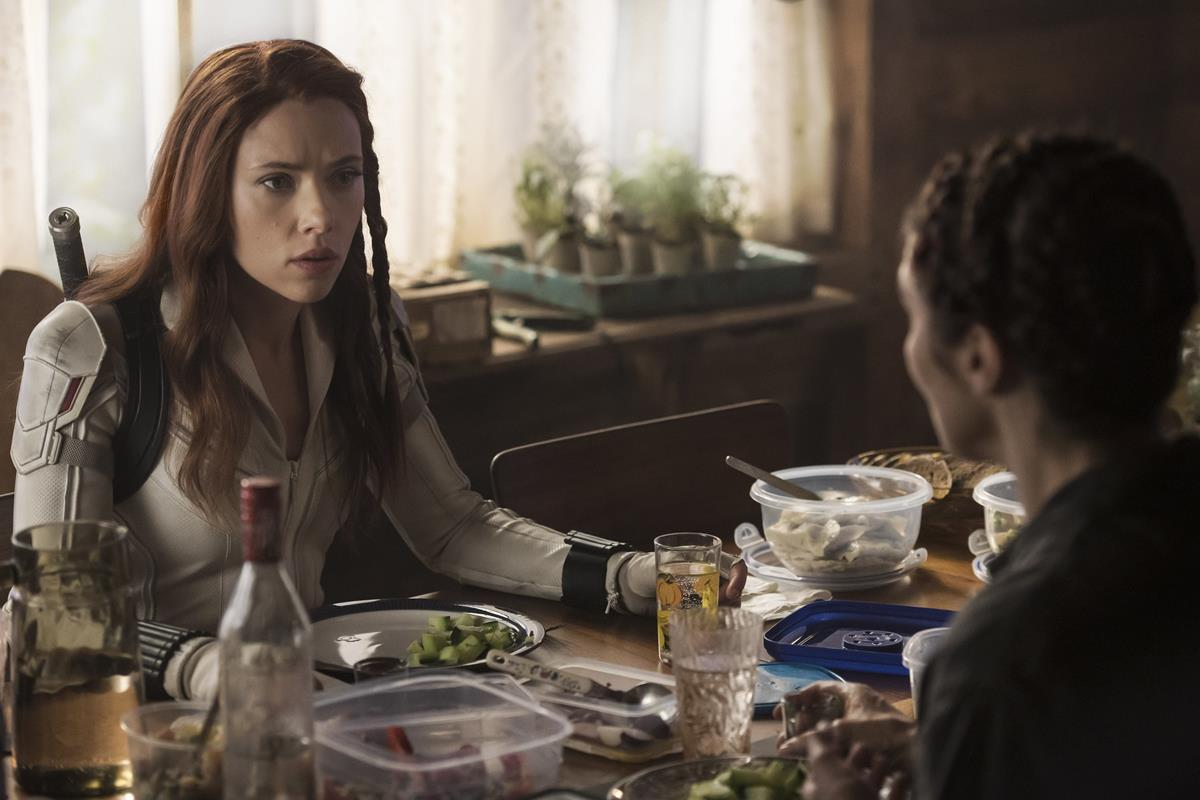 "Scarlett Johansson as Natasha Romanoff/Black Widow and Rachel Weisz as Melina Vostokoff/Black Widow in Marvel's ""Black Widow."" Cr: Marvel Studios"