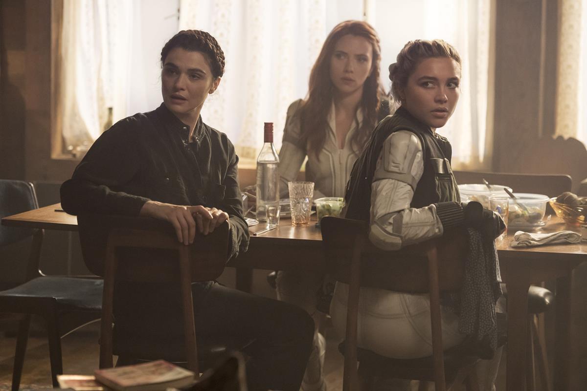 "Rachel Weisz as Melina Vostokoff/Black Widow, Scarlett Johansson as Natasha Romanoff/Black Widow and Florence Pugh as Yelena Belova/Black Widow in Marvel's ""Black Widow."" Cr: Marvel Studios"