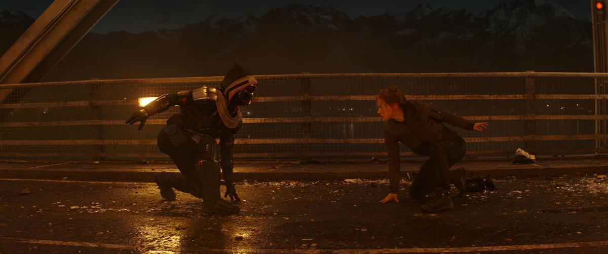"Olga Kurylenko as Antonia Dreykov/Taskmaster and Scarlett Johansson as Natasha Romanoff/Black Widow in Marvel's ""Black Widow."" Cr: Marvel Studios"