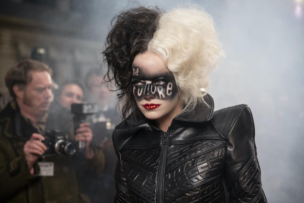 "Emma Stone as Cruella in Disney's live-action ""Cruella."" Cr: Laurie Sparham/Disney"