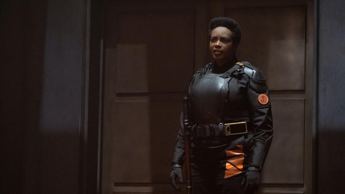 """Hunter B-15 (Wunmi Mosaku) in Episode 1 of Marvel Studios' """"Loki."""" Cr: Chuck Zlotnick/Marvel Studios"""