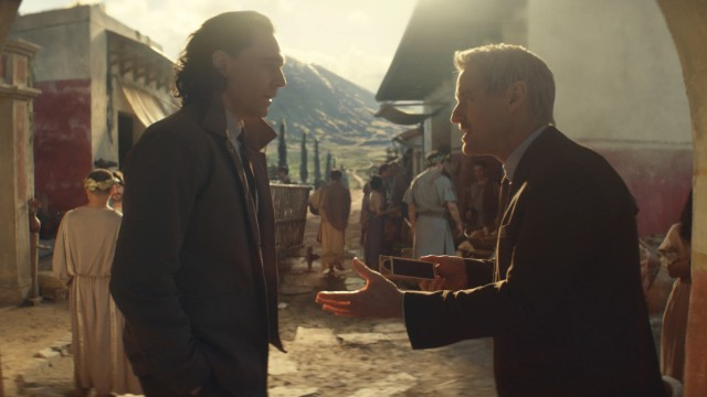 "Loki (Tom Hiddleston) and Mobius (Owen Wilson) in Episode 2 of Marvel Studios' ""Loki."" Cr: Marvel Studios"