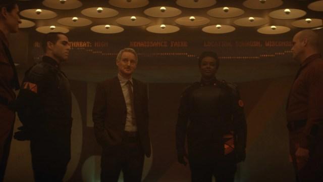 "Hunter D-90 (Neil Ellice), Mobius (Owen Wilson) and Hunter B-15 (Wunmi Mosaku) in Episode 2 of Marvel Studios' ""Loki."" Cr: Marvel Studios"