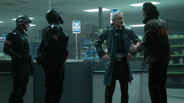 "Hunter D-90 (Neil Ellice), Hunter B-15 (Wunmi Mosaku), Mobius (Owen Wilson) and Loki (Tom Hiddleston) in Episode 2 of Marvel Studios' ""Loki."" Cr: Marvel Studios"