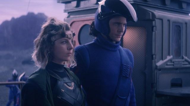 """Sophia Di Martino and Loki (Tom Hiddleston) in Episode 3 of Marvel Studios' """"Loki."""" Cr: Marvel Studios"""