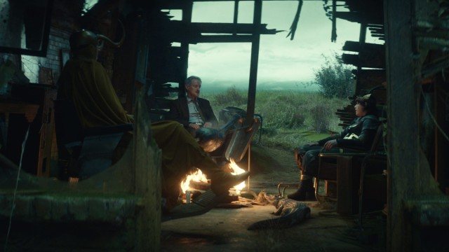 "Classic Loki (Richard E. Grant), Mobius (Owen Wilson), Kid Loki (Jack Veal) and Alligator Loki in Episode 5 of Marvel Studios' ""Loki."" Cr: Marvel Studios"