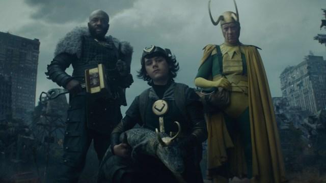 "Boastful Loki (DeObia Oparei), Kid Loki (Jack Veal), Alligator Loki and Classic Loki (Richard E. Grant) in Episode 5 of Marvel Studios' ""Loki."" Cr: Marvel Studios"