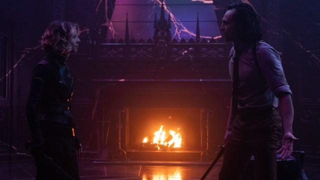 """Sylvie (Sophia Di Martino) and Loki (Tom Hiddleston) in Episode 6 of Marvel Studios' """"Loki."""" Cr: Chuck Zlotnick/Marvel Studios"""