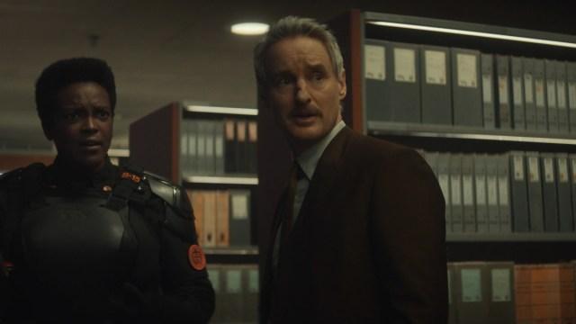 "Hunter B-15 (Wunmi Mosaku) and Mobius (Owen Wilson) in Episode 6 of Marvel Studios' ""Loki."" Cr: Marvel Studios"