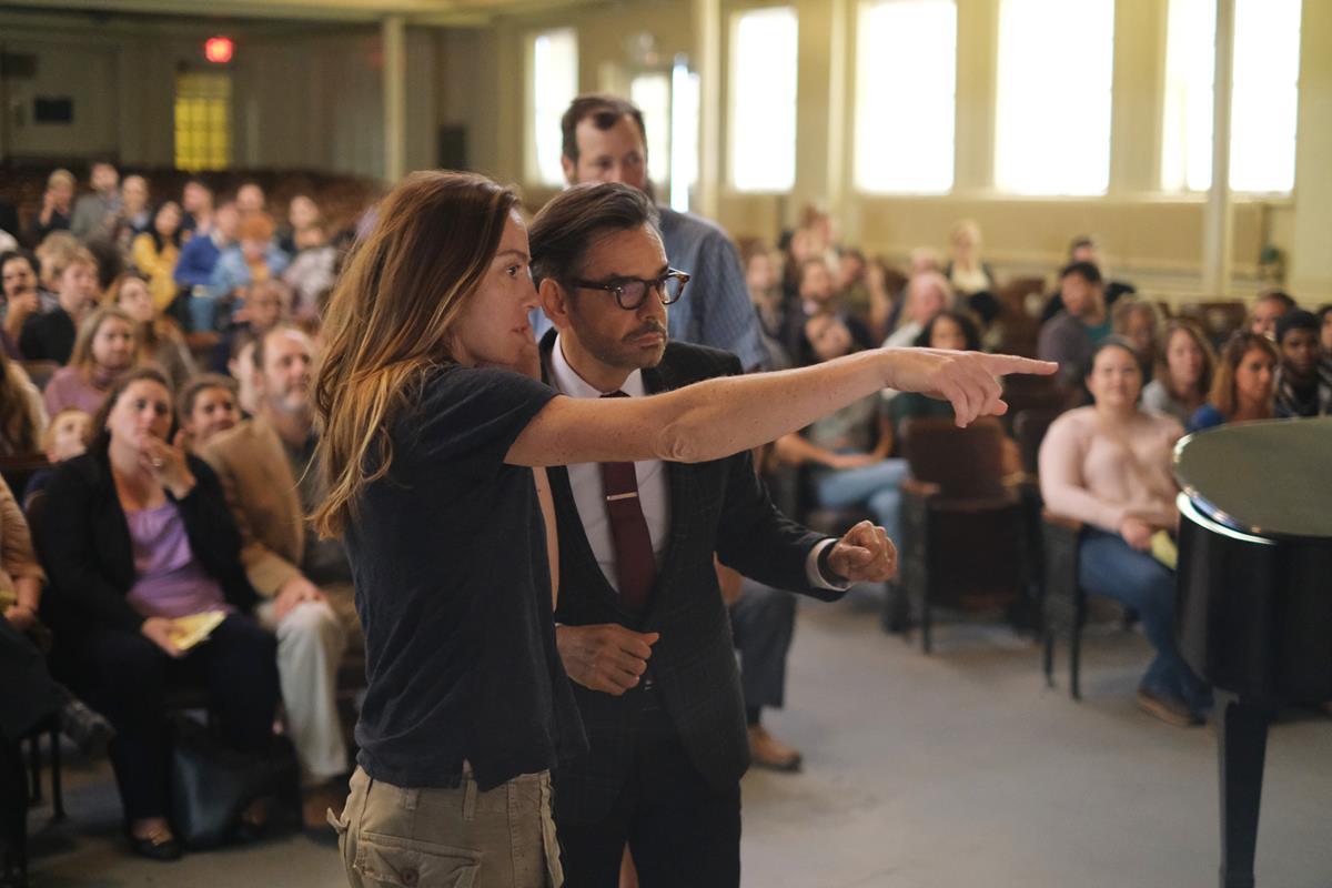 "Director Siân Heder and Eugenio Derbez on the set of ""CODA."" Cr: Apple TV+"