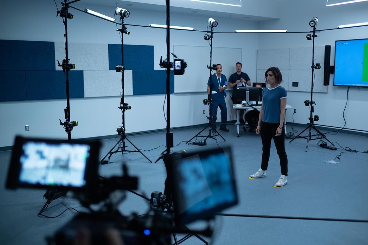"Carly Pope on the set of Neill Blomkamp's ""Demonic."" Cr: Volumetric Capture Systems"