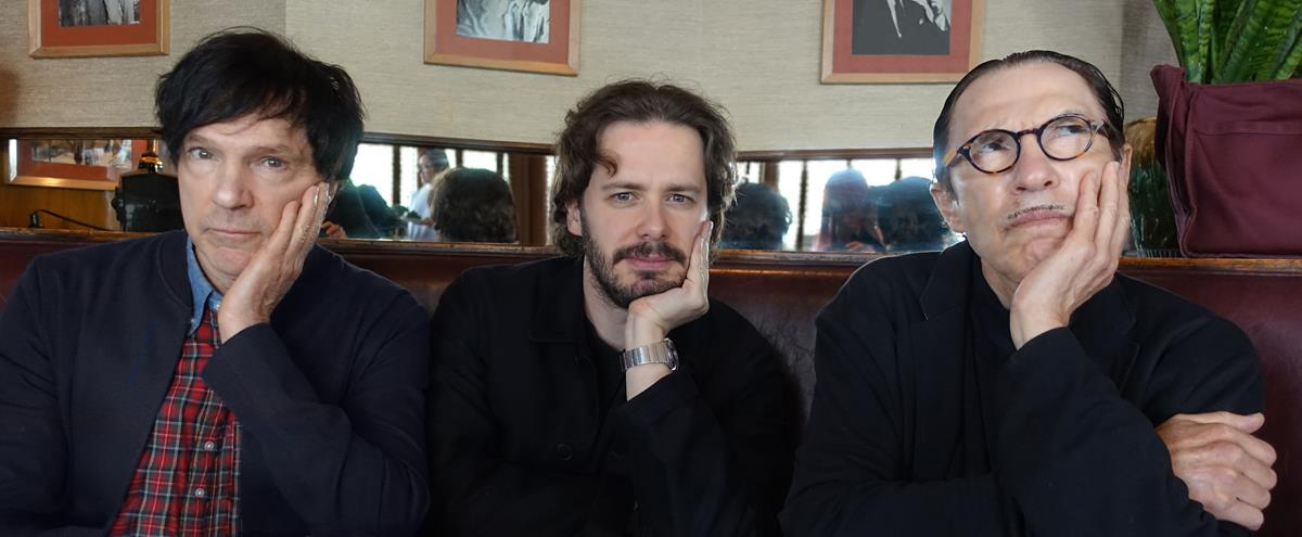 """Russel Mael, Edgar Wright, and Ron Mael in """"The Sparks Brothers."""" Cr: Focus Features"""