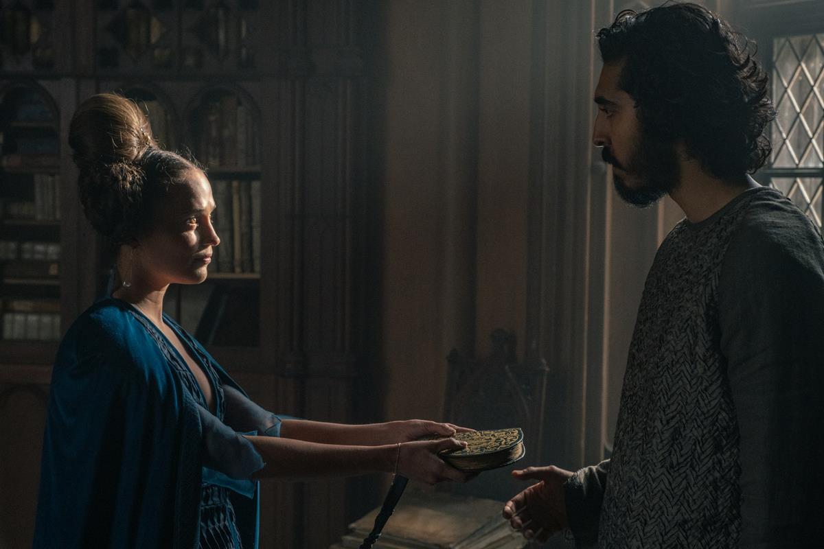 """Alicia Vikander and Dev Patel in """"The Green Knight."""" Cr: Eric Zachanowich/A24"""