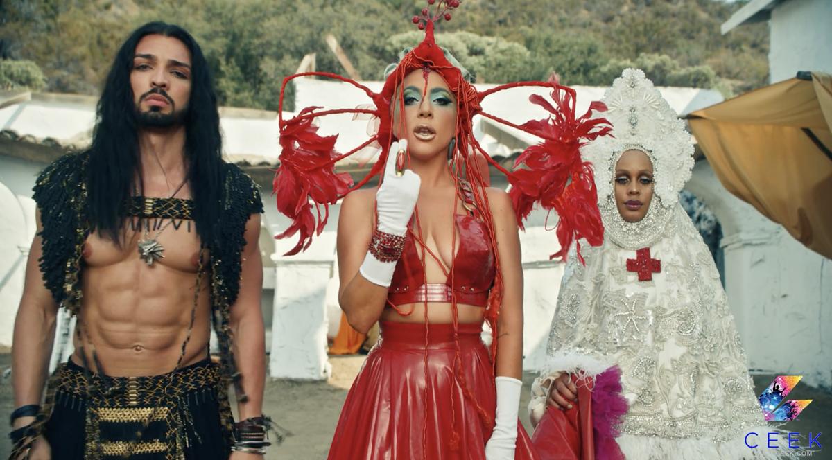 "Nicole Montgomery, Lady Gaga, and Sia Zami in ""911,"" directed by Tarsem Singh. Cr: CEEK"