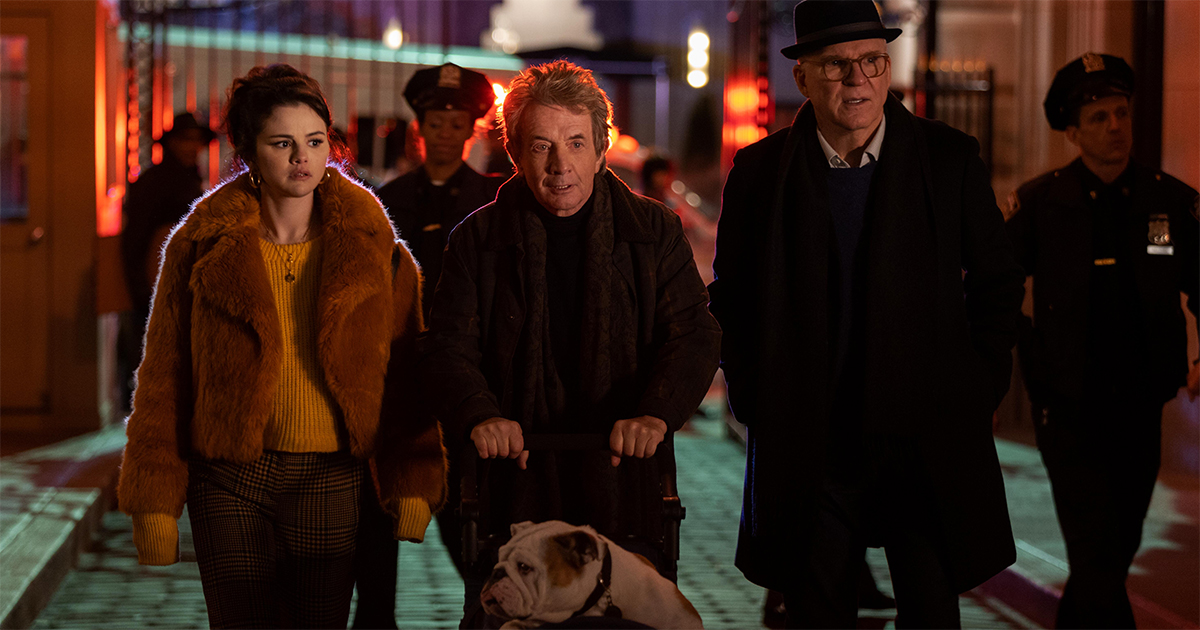 """Selena Gomez as Mabel Mora, Martin Short as Oliver, and Steve Martin as Charles in """"Only Murders in the Building."""" Cr: Hulu"""