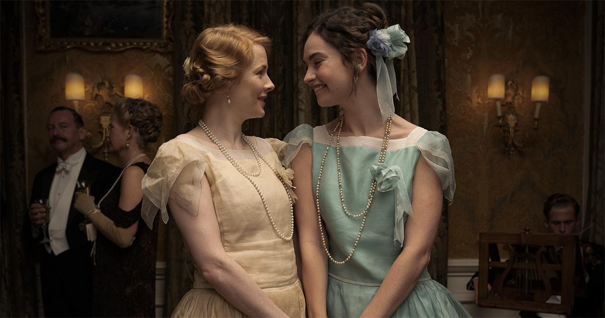 "Emily Beecham as Fanny Logan iand Lily James as Linda Radlett in ""The Pursuit of Love."" Cr: Robert Viglasky/BBC"