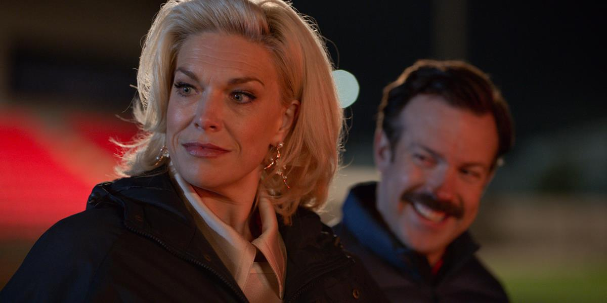 """Hannah Waddingham and Jason Sudeikis in """"Ted Lasso,"""" now streaming on Apple TV+."""