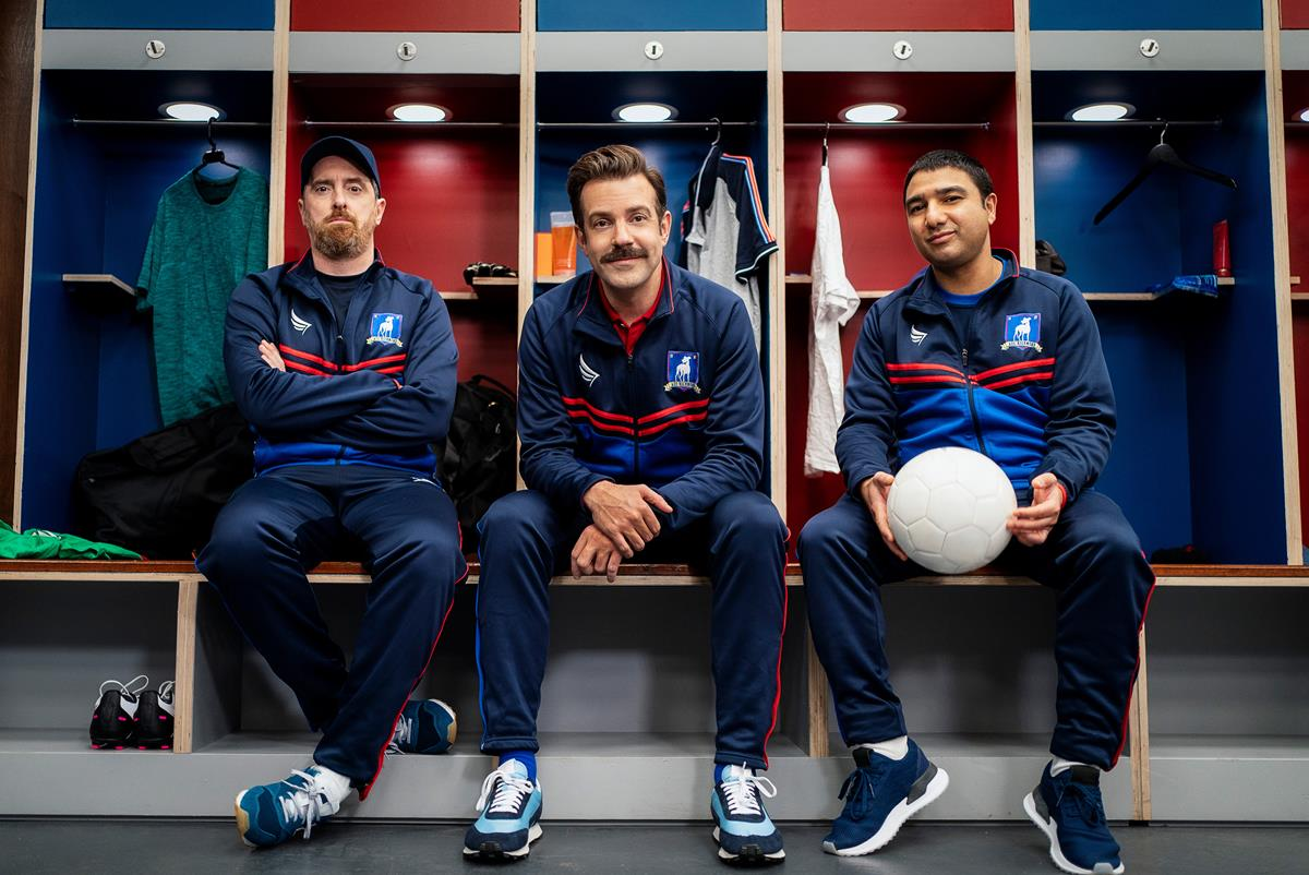 """Brendan Hunt, Jason Sudeikis and Nick Mohammed in """"Ted Lasso"""" season two, now streaming on Apple TV+."""