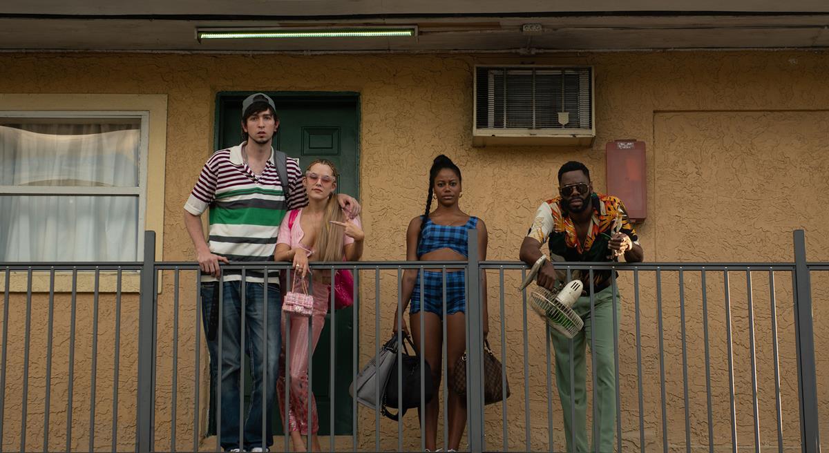 "Nicholas Braun as Derrek, Riley Keough as Stefani, Taylour Paige as Zola and Colman Domingo as X in director Janicza Bravo's ""Zola."" Cr: Anna Kooris/A24"