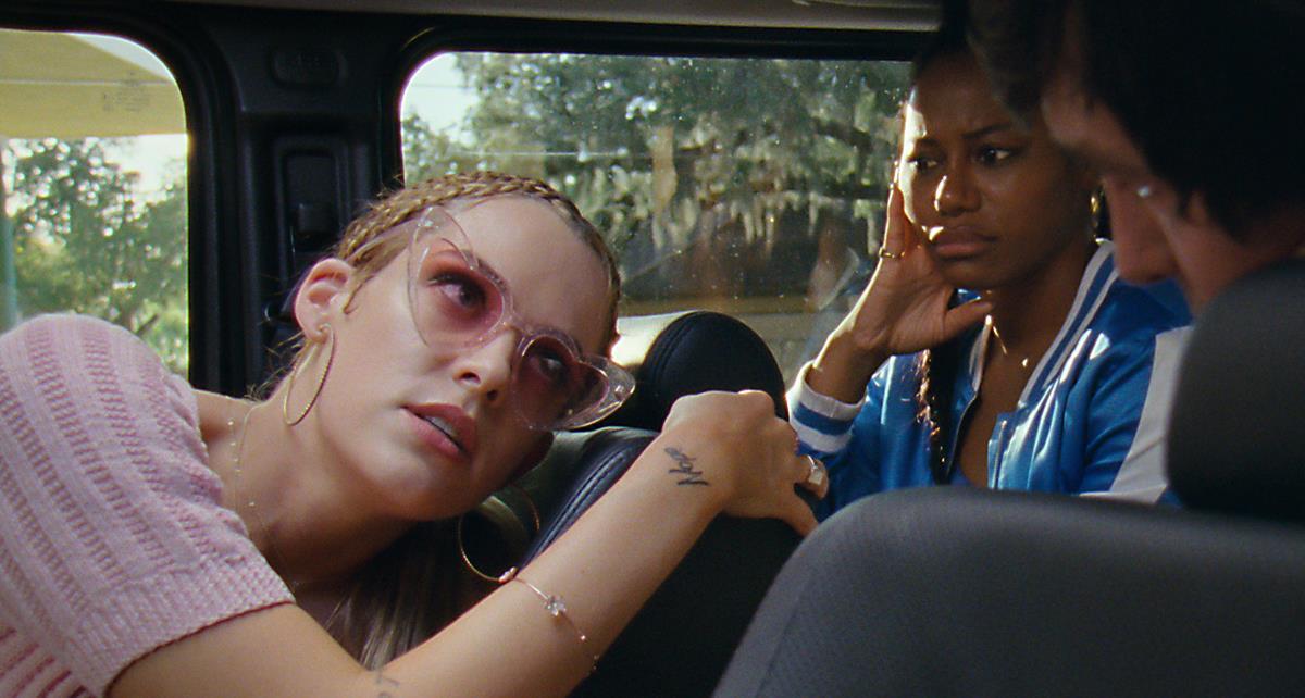 "Riley Keough as Stefani and Taylour Paige as Zola in director Janicza Bravo's ""Zola."" Cr: Anna Kooris/A24"