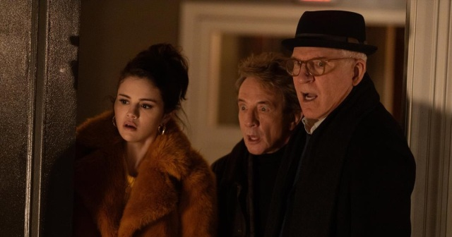"""Selena Gomez as Mabel Mora, Martin Short as Oliver, and Steve Martin as Charles in Episode 1 of """"Only Murders in the Building."""" Cr: Hulu"""
